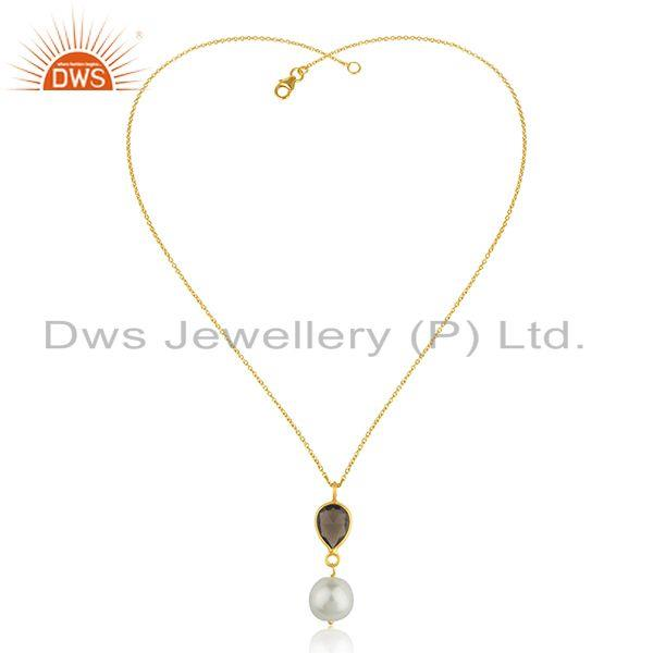 Exporter Smoky Quartz and Pearl 92.5 Silver Gold plated Chain Pendant Manufacturer India