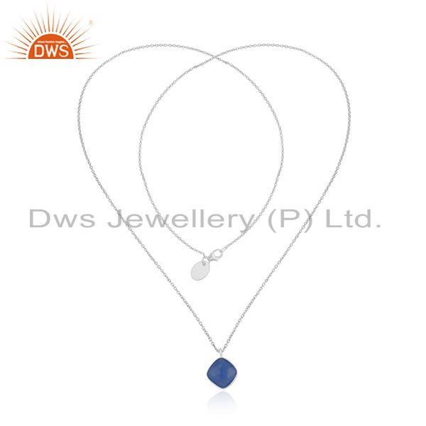 Exporter Blue Chalcedony Gemstone Fine Sterling Silver Chain Necklace Wholesale