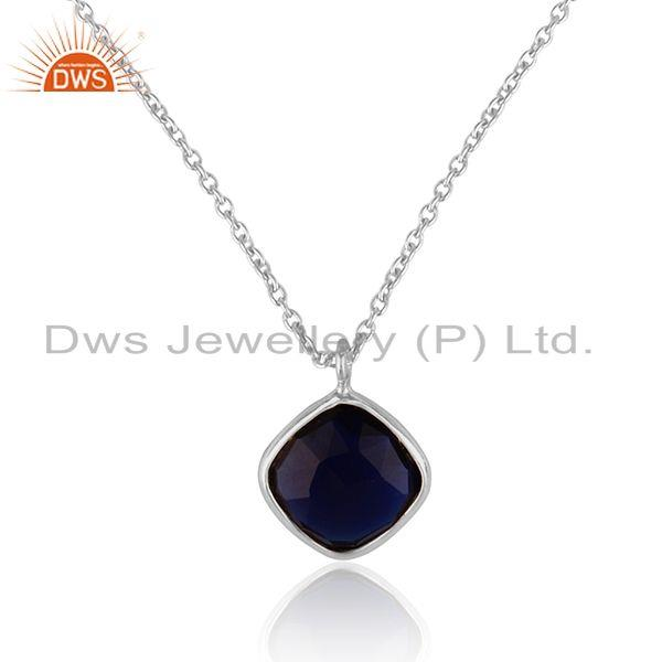 Handcrafted minimal necklace in silver with blue corundum cushion