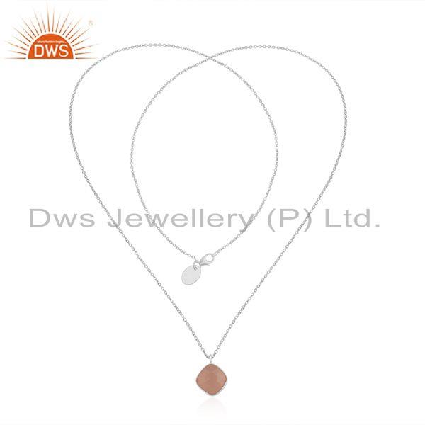 Exporter Rose Chalcedony Gemstone Fine Sterling Silver Chain Pendant Manufacturer