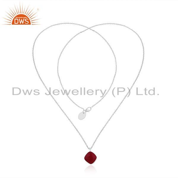 Exporter Pink Chalcedony Fine Sterling Silver Chain Pendant Necklace Jewelry Manufacturer