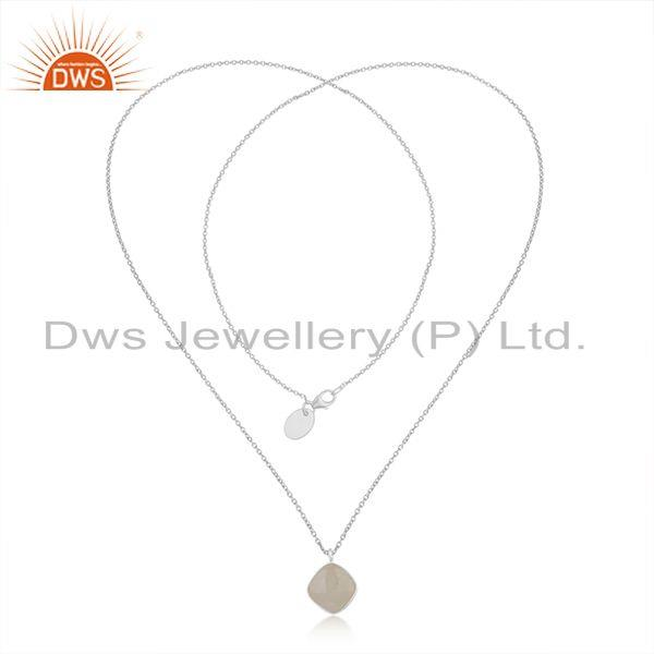 Exporter Rainbow Moonstone Fine Sterling Silver Chain Necklace Pendant Manufacturer India