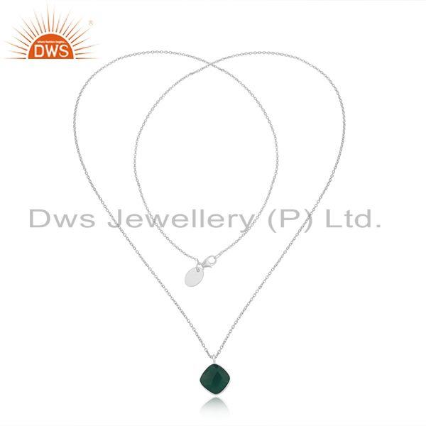 Exporter Green Onyx Gemstone Fine Sterling Silver Handmade Necklace Wholesale