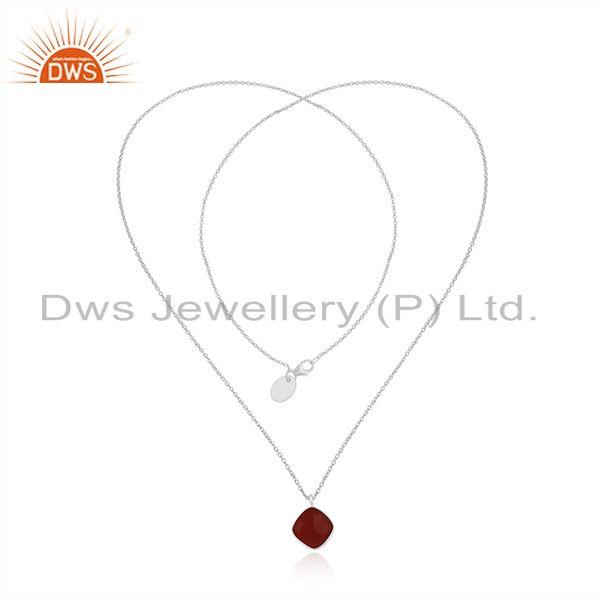Exporter Red Onyx Gemstone Fine Sterling Silver Chain Necklace Manufacturer India