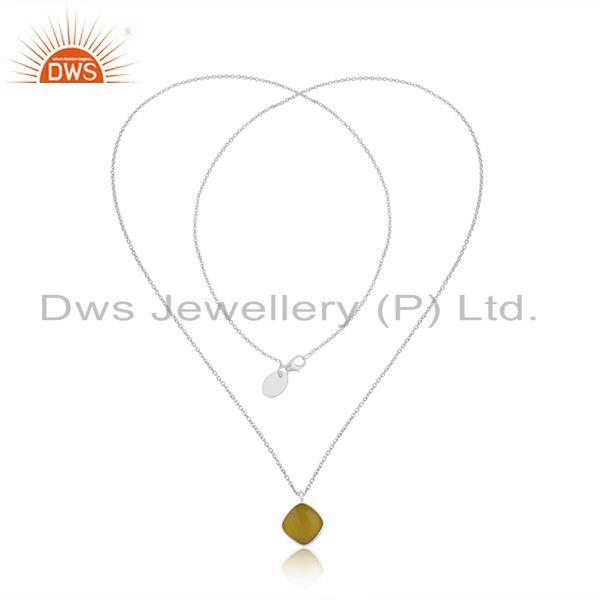 Exporter Yellow Chalcedony Gemstone Fine STerling Silver Chain Pendant Necklace Wholesale