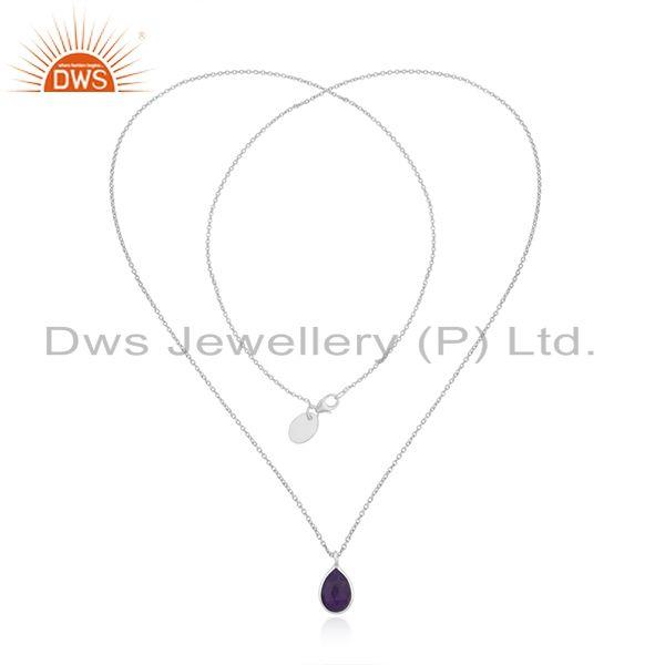 Exporter Aventurine Purple Gemstone Fine Sterling Silver Chain Necklace Pendant Wholesale