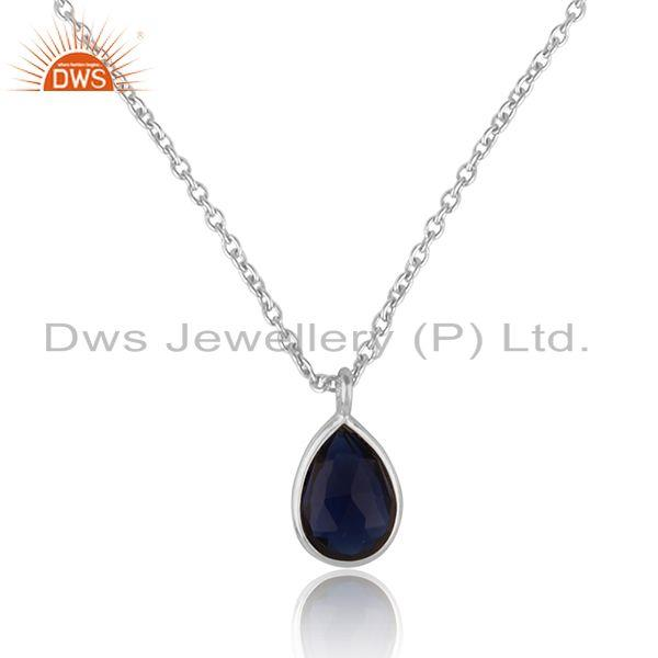 Handcrafted minimal necklace in fine silver with blue corundum