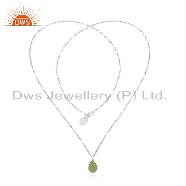 Exporter Prehnite Chalcedony Gemstone Fine Sterling Silver Chain Necklace Manufacturer