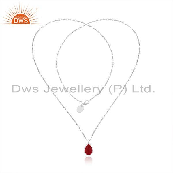 Exporter Pink Chalcedony Gemstone Fine Sterling Silver Chain Pendant Necklace Wholesale