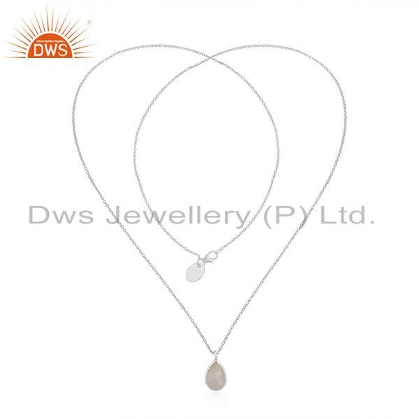 Exporter Rainbow Moonstone 925 Sterling Fine Silver Chain Pendant Necklace Manufacturer