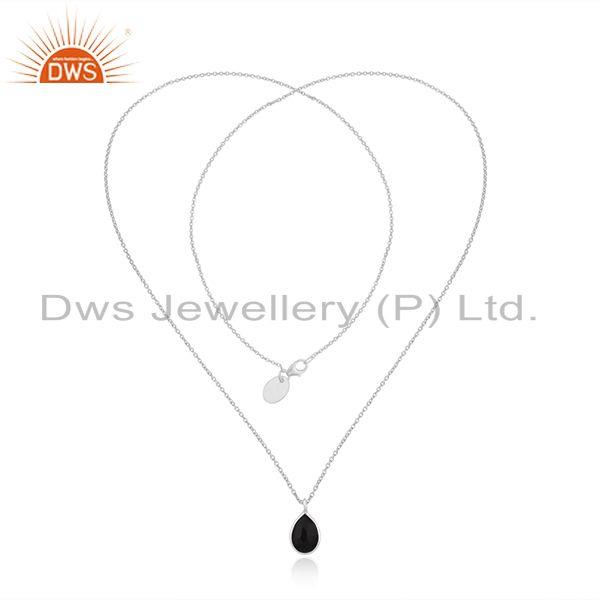 Exporter Fine Sterling Silver Black Onyx Gemstone Chain Necklace Manufacturer India