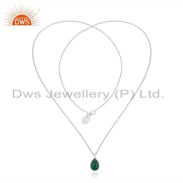 Exporter Green Onyx Gemstone Fine Sterilng Silver Chain Necklace Wholesaler India