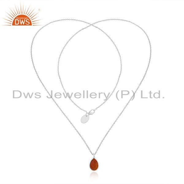 Exporter Handmade Fine Sterling Silver Red Onyx Gemstone Chain Pendant Necklace Wholesale