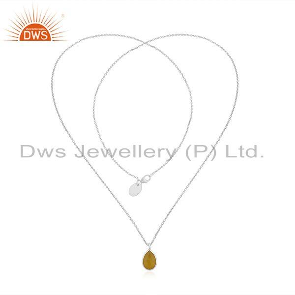 Exporter Yellow Chalcedony Gemstone Sterling Fine Silver Handmade Chain Necklace Pendant