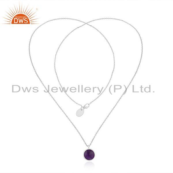 Exporter Handmade 925 Sterling Silver Purple Gemstone Chain Necklace