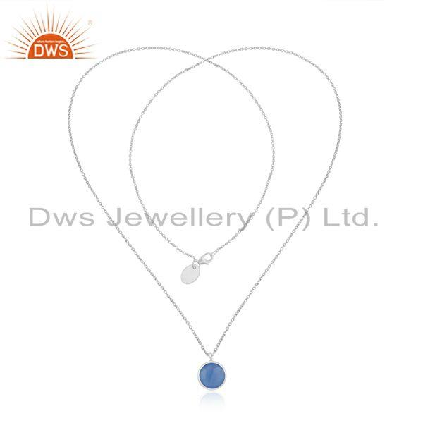 Exporter Blue Chalcedony Gemstone Fine Sterling Silver Chain Necklace Wholesaler India