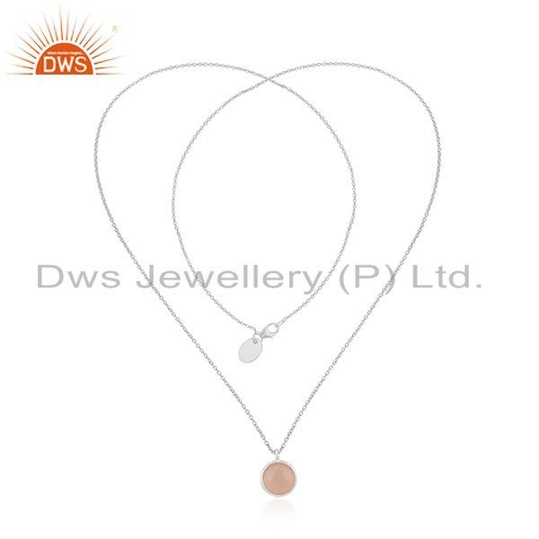 Exporter Rose Chalcedony Gemstone Fine Sterling Silver Chain Necklace Manufacturer Jaipur