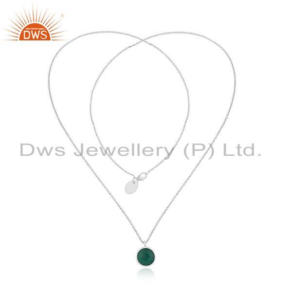 Exporter Green Onyx Gemstone Fine Sterling Silver Pendant Necklace Manufacturer India