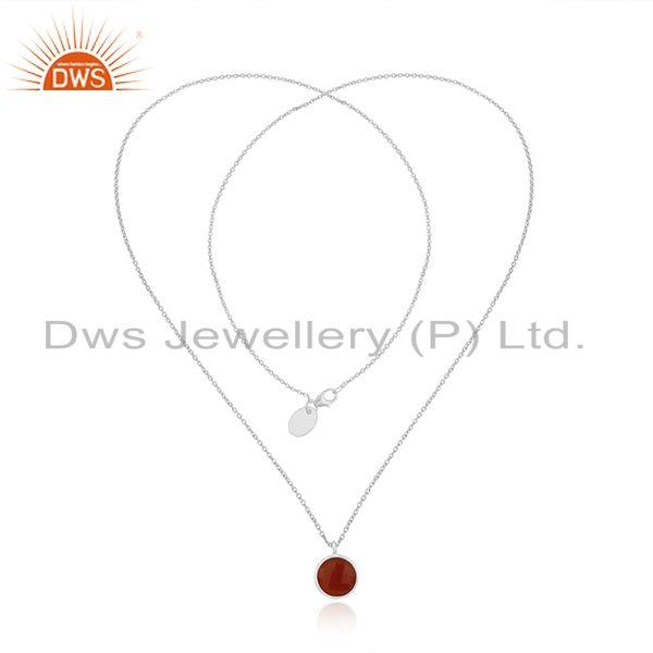 Exporter Red Onyx Gemstone 92.5 Sterling Silver Pendant Wholesale