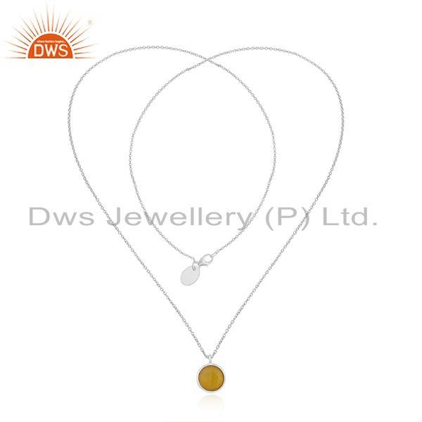 Exporter Yellow Chalcedony Gemstone Fine Sterling Silver Chain Pendant Wholesaler