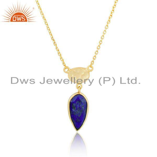 Exporter Yellow Gold Plated Silver Natural Lapis Gemstone Chain Pendant Jewelry