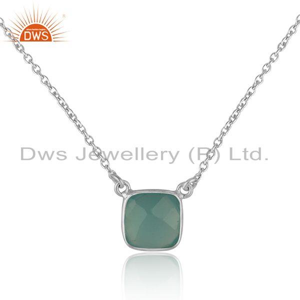 Handmade dainty necklace in silver 925 adorn with aqua chalcedony