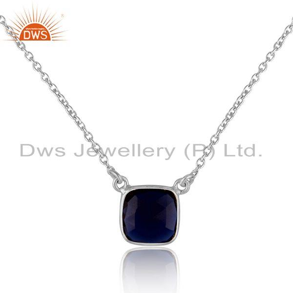 Handmade dainty necklace in silver 925 adorn with blue corundum