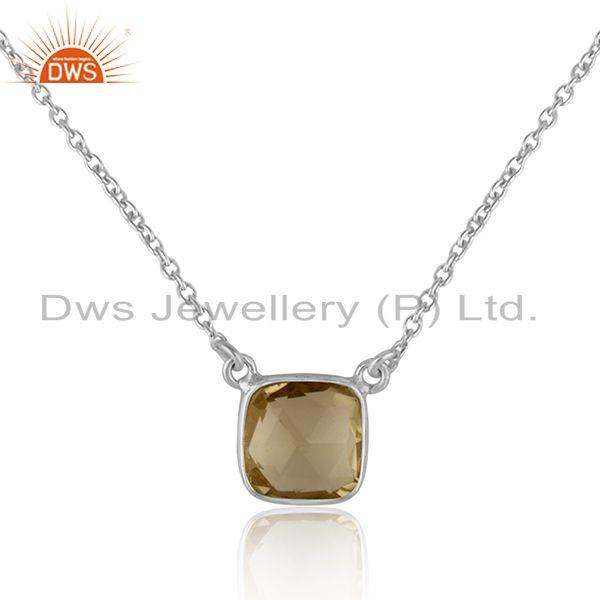 Handmade dainty necklace in silver 925 adorn with lemon topaz