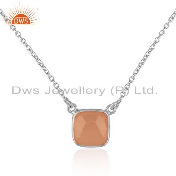 Handmade dainty necklace in silver 925 adorn with rose chalcedony