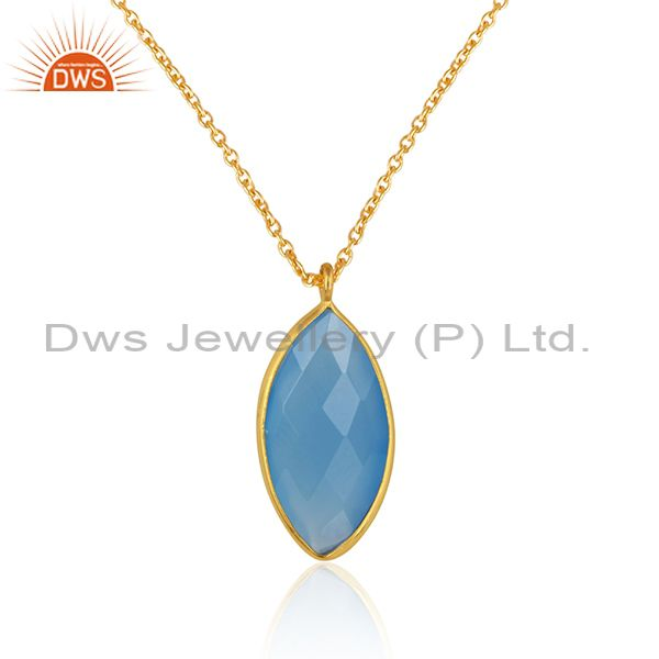 Blue chalcedony gemstone 18k gold plated silver chain pendants