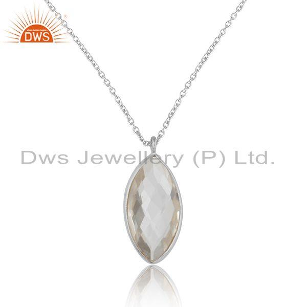 Crystal quartz gemstone designer sterling silver chain pendants