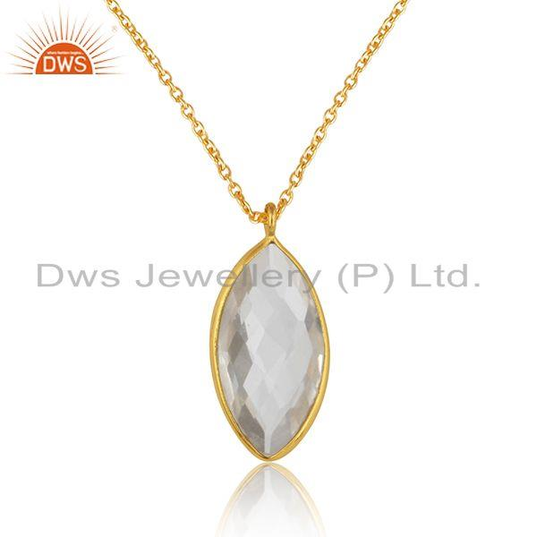 Crystal quartz gemstone womens gold plated silver chain pendants