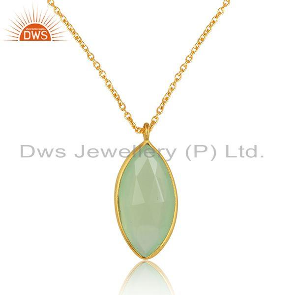 Chalcedony gemstone girls gold plated silver chain pendants