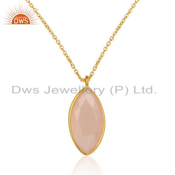 Rose chalcedony gemstone womens designer silver chain pendants