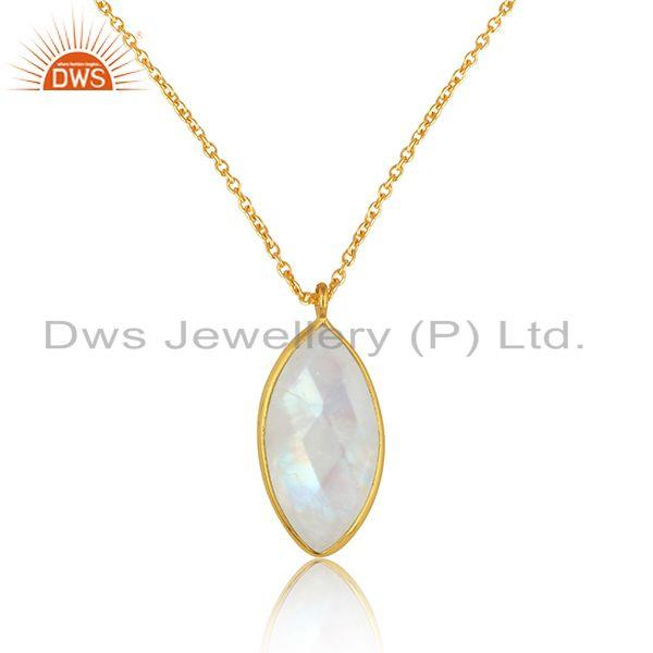 Rainbow moonstone handmade gold plated 925 silver chain pendants
