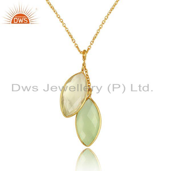 Chalcedony lemon topaz gemstone womens silver chain pendants