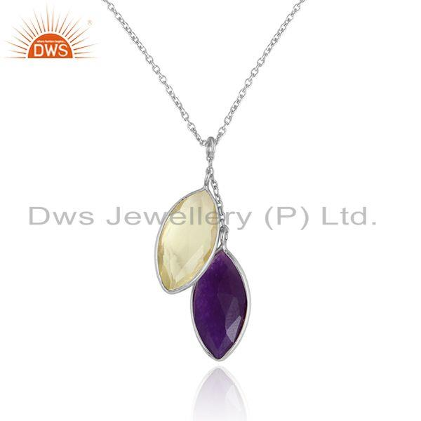 Aventurine lemon topaz gemstone womens fine silver chain pendants