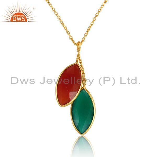 Green and red onyx gemstone gold plated silver chain pendants
