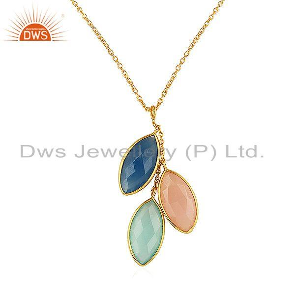 Exporter Designer Gold Plated 925 Silver Natural Three Gemstone Chain Pendant