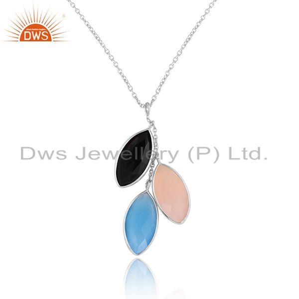 Multi gemstone designer sterling fine silver womens chain pendant