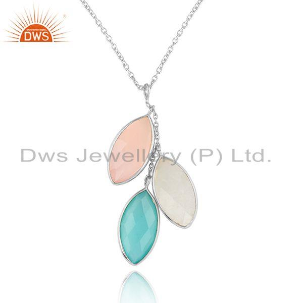 Chalcedony rainbow moonstone fine sterling silver chain pendants