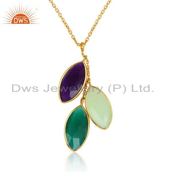 Chalcedony green onyx gemstone gold plated silver chain pendants