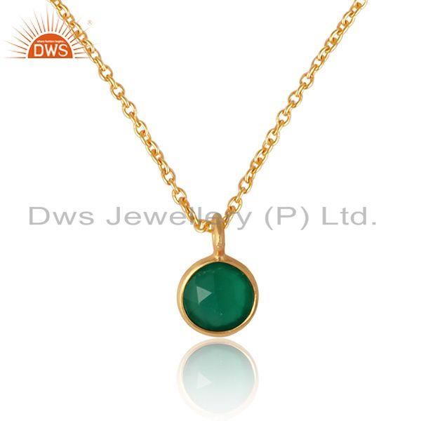 Handcrafted necklace in yellow gold on silver with green onyx