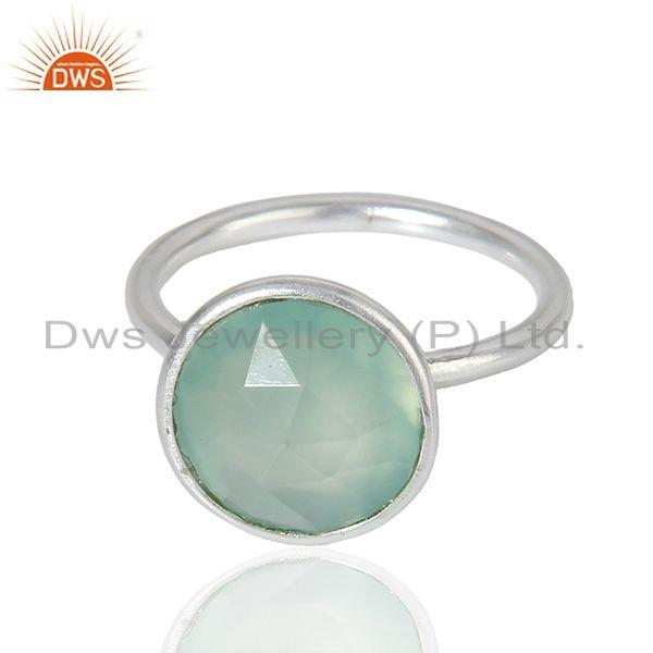 Exporter Wholesale Sterling Fine Silver Aqua Chalcedony Gemstone Ring Jewelry
