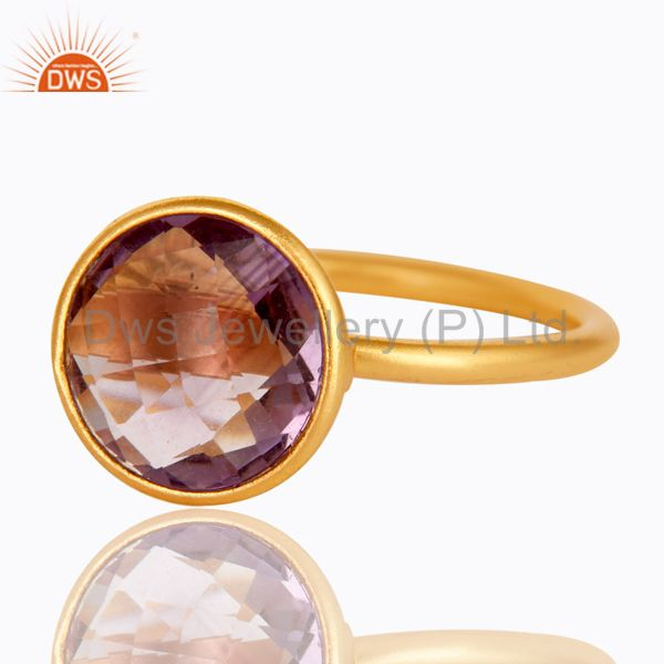 Exporter 14K Yellow Gold Plated 925 Sterling Silver Round Cut Amethyst Stacking Ring