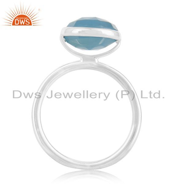 Exporter Blue Chalcedony Gemstone 925 Sterling Silver Rings Suppliers