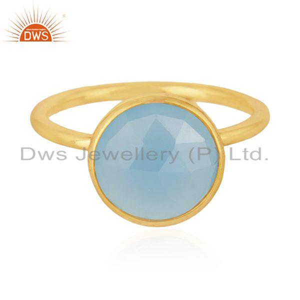 Exporter Blue Chalcedony Gemstone 925 Silver Gold Plated Ring Manufacturer of Rings