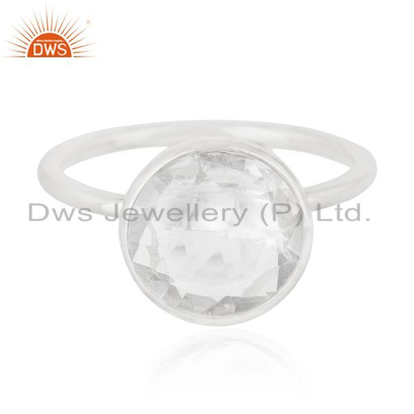 Exporter Crystal Quartz 925 Sterling Silver Ring Manufacturer of Customized Jewellery