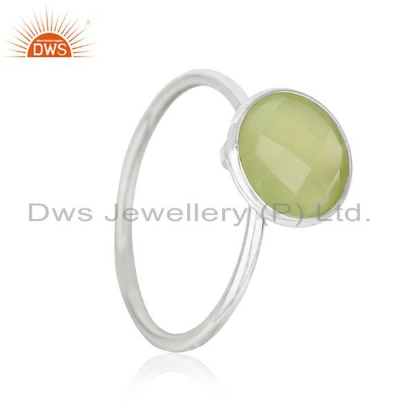 Exporter Prehnite Chalcedony Gemstone 925 Sterling Silver Stackable Ring Manufacturer