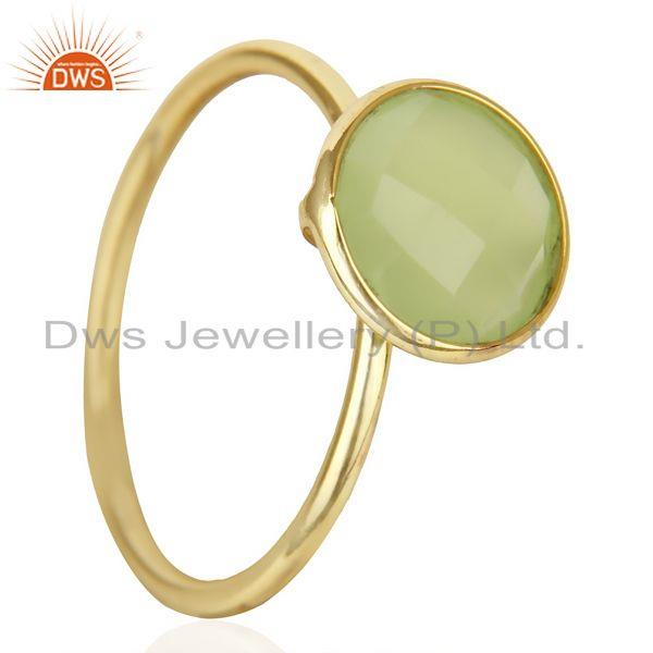 Exporter 18K Gold Plated 925 Sterling Silver Dyed Chalcedony Gemstone Stacking Ring
